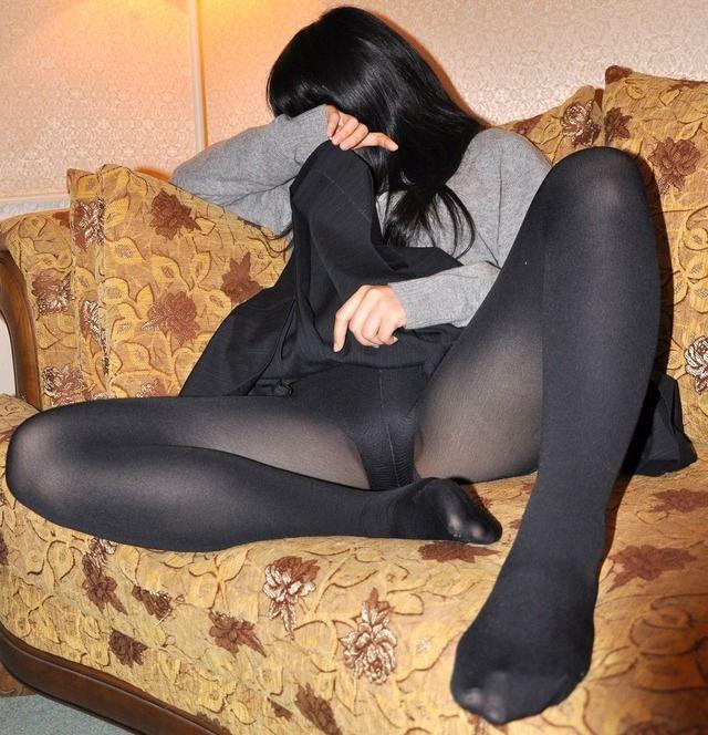 黒パンスト,黒タイツ,違い,エロ画像,比較【33】