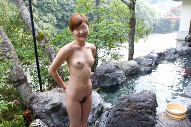 彼女,温泉,デート,流出,家族風呂,露天風呂,エロ画像【11】