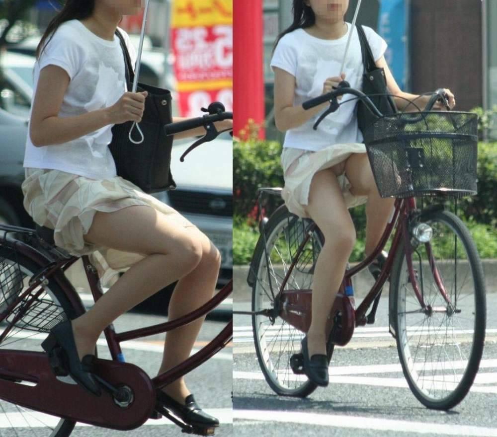 自転車パンチラエロ画像!パンツ一枚事故のもと!マジで!【2】