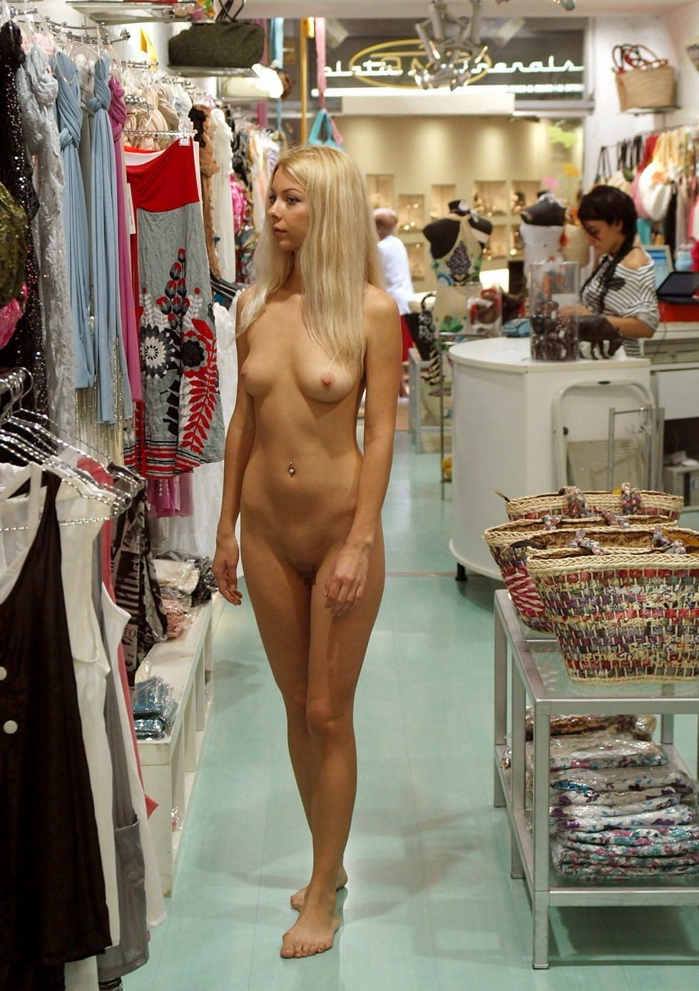 Excited too Nude girls at the store